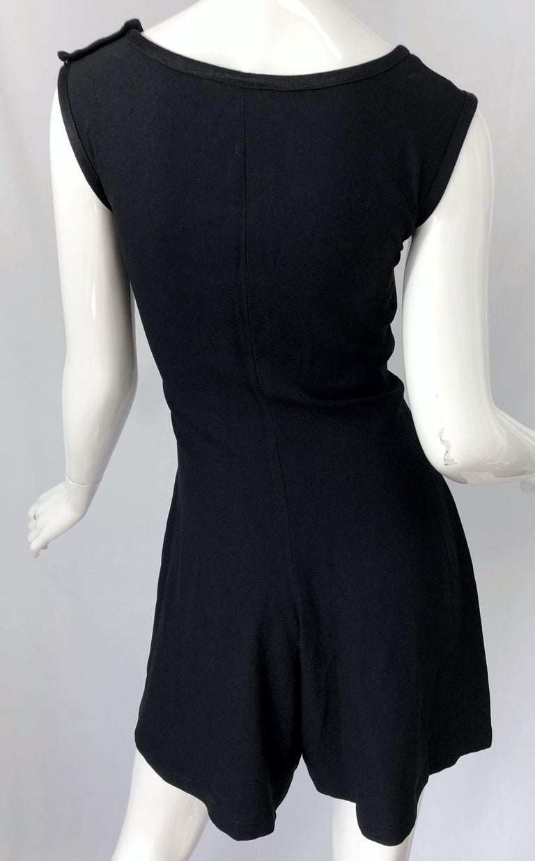 Vintage Yves Saint Laurent Romper Black Rayon Sleeveless 1990s One Piece 90s  For Sale 7