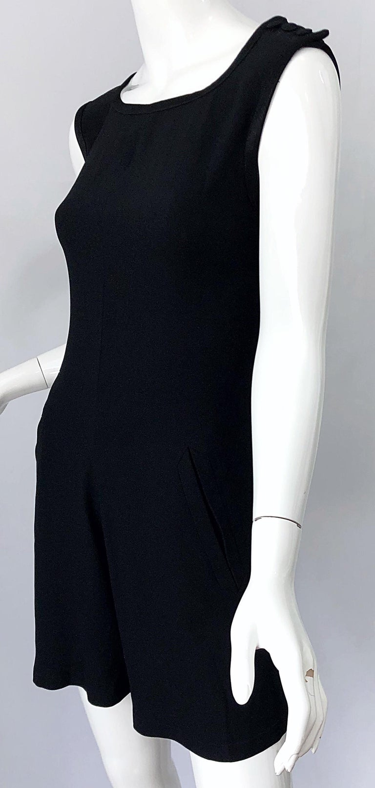 Vintage Yves Saint Laurent Romper Black Rayon Sleeveless 1990s One Piece 90s  For Sale 8