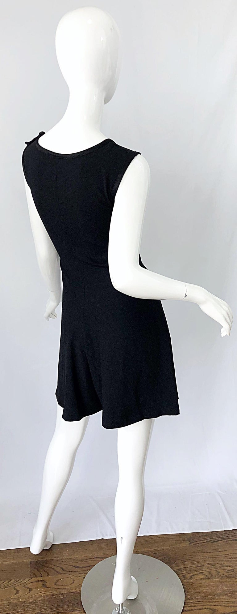 Vintage Yves Saint Laurent Romper Black Rayon Sleeveless 1990s One Piece 90s  For Sale 9
