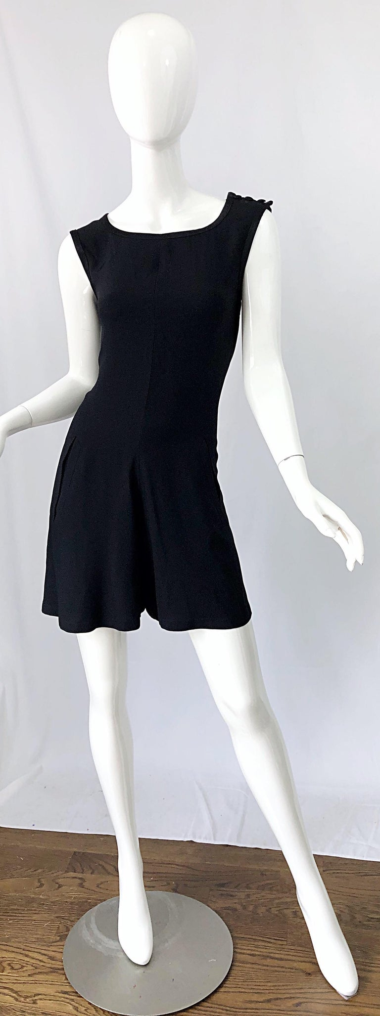 Vintage Yves Saint Laurent Romper Black Rayon Sleeveless 1990s One Piece 90s  For Sale 10