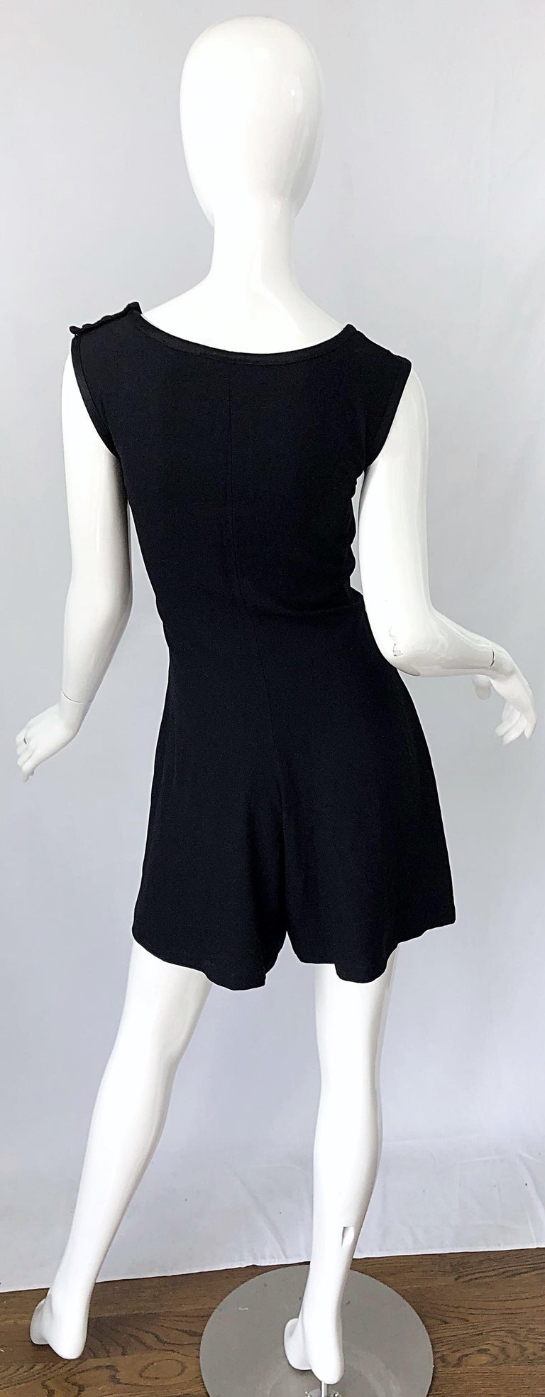 Women's  Vintage Yves Saint Laurent Romper Black Rayon Sleeveless 1990s One Piece 90s  For Sale