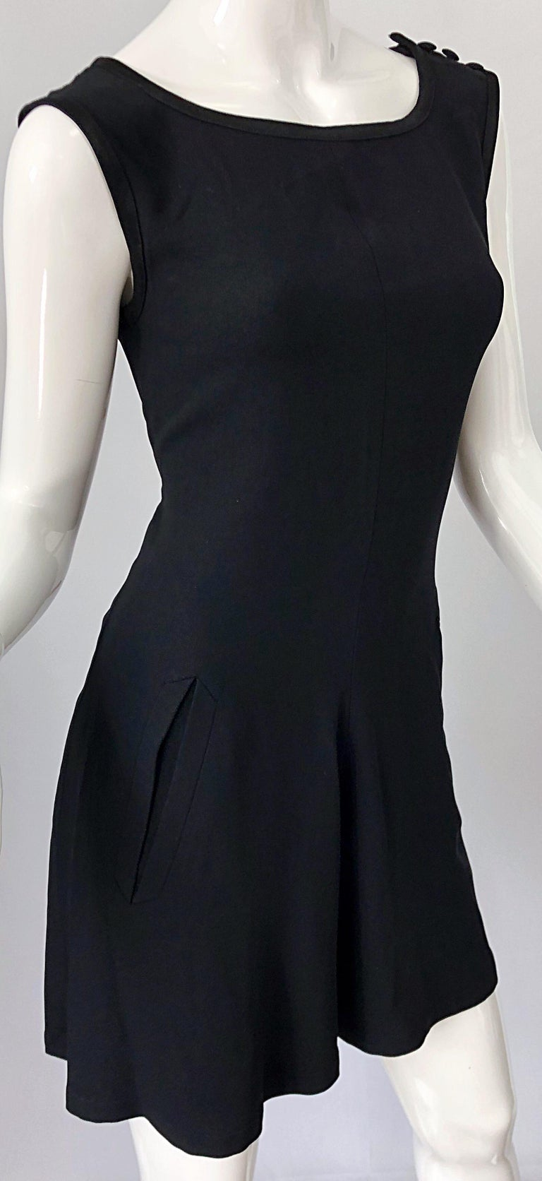 Vintage Yves Saint Laurent Romper Black Rayon Sleeveless 1990s One Piece 90s  For Sale 1