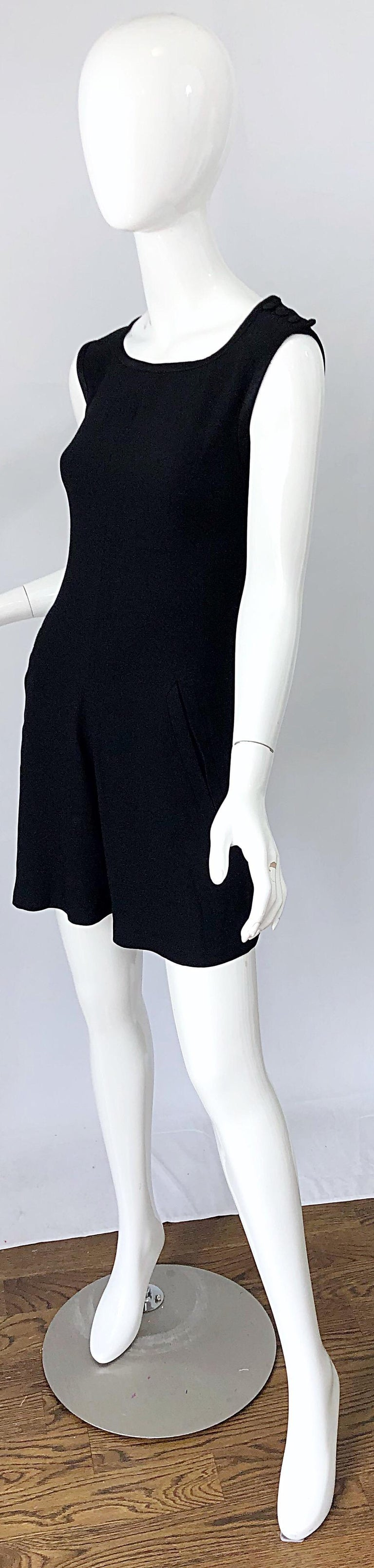 Vintage Yves Saint Laurent Romper Black Rayon Sleeveless 1990s One Piece 90s  For Sale 2