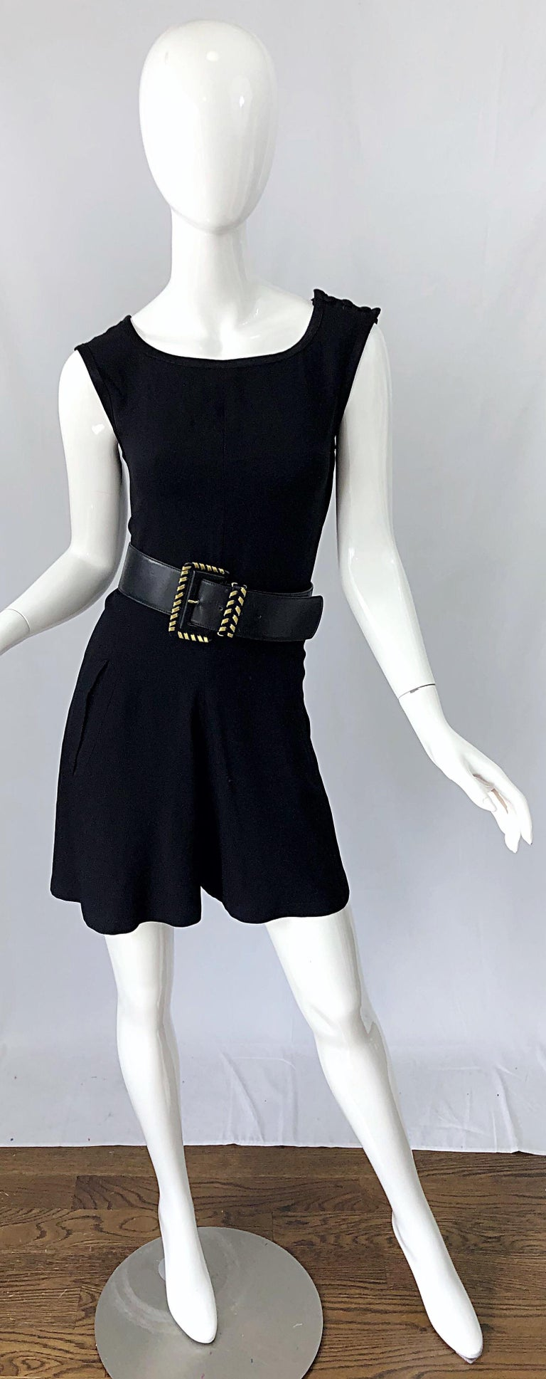 Vintage Yves Saint Laurent Romper Black Rayon Sleeveless 1990s One Piece 90s  For Sale 3