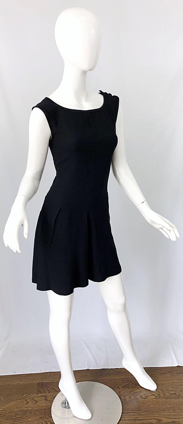 Vintage Yves Saint Laurent Romper Black Rayon Sleeveless 1990s One Piece 90s  For Sale 5