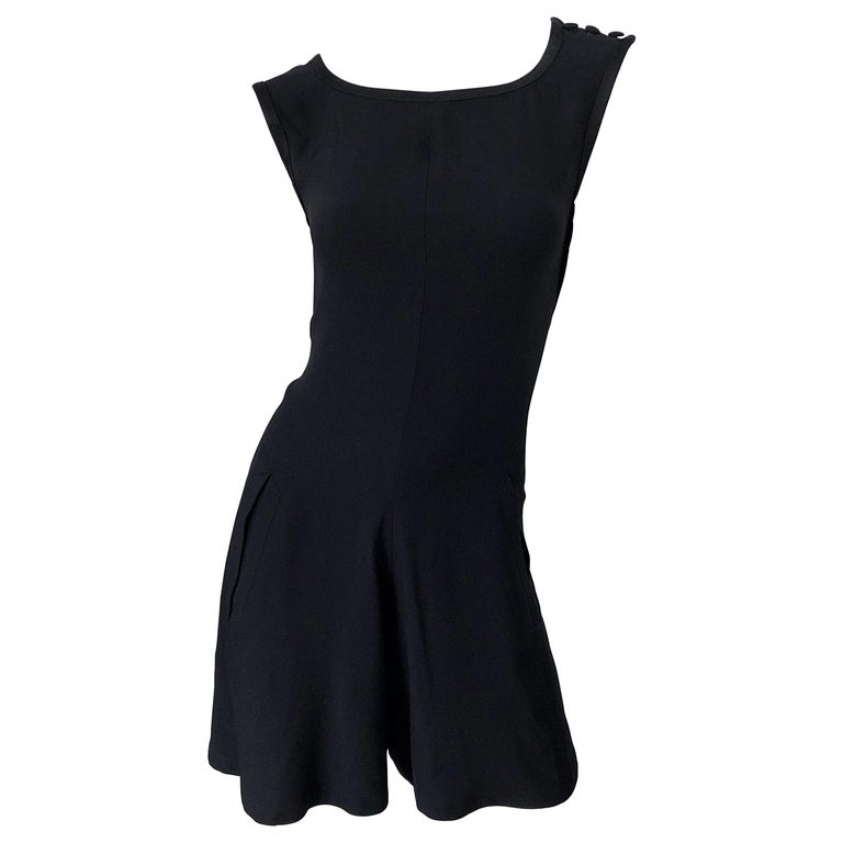 Vintage Yves Saint Laurent Romper Black Rayon Sleeveless 1990s One Piece 90s  For Sale