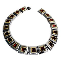 Vintage YVES SAINT LAURENT Ruby Square Necklace