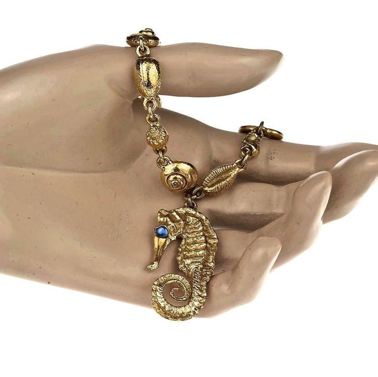 Vintage YVES SAINT LAURENT Seahorse Charm Sea Shells Bracelet For Sale 2