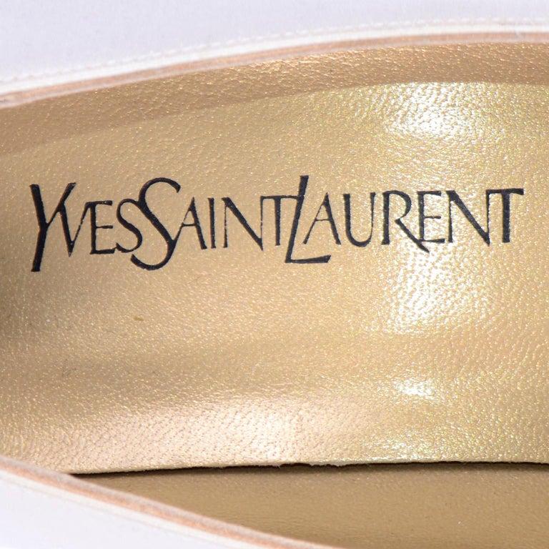 Vintage Yves Saint Laurent Shoes YSL White Satin Pumps W 4