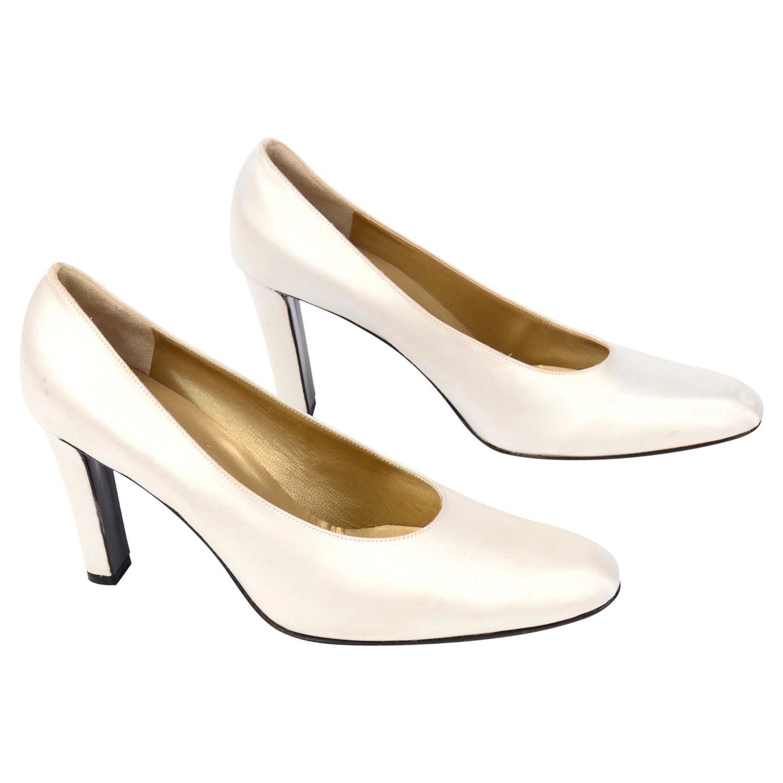 """Vintage Yves Saint Laurent Shoes YSL White Satin Pumps W 4"""" Heels"""