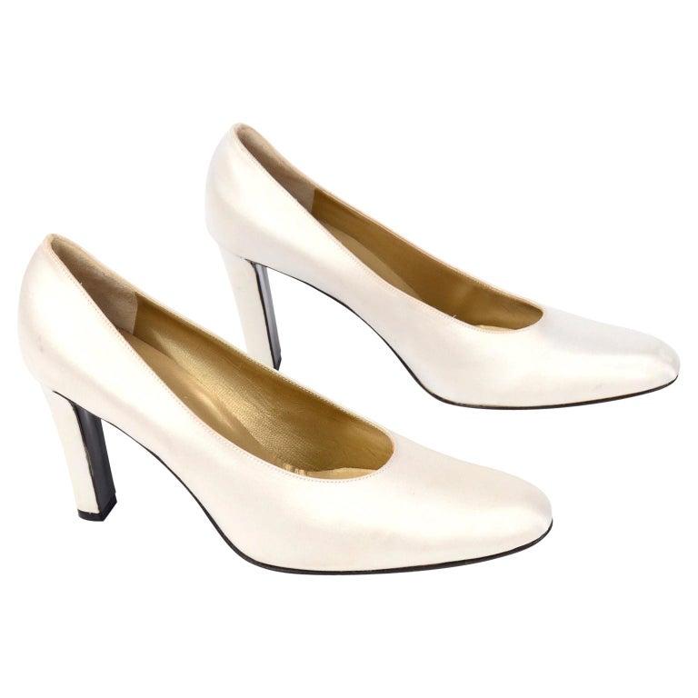 "Vintage Yves Saint Laurent Shoes YSL White Satin Pumps W 4"" Heels For Sale"