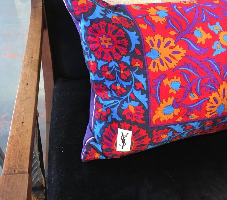 Vintage Yves Saint Laurent silk scarf in red, blue, purple and goldenrod crafted into large rectangular pillow. Down/feather insert, hidden zipper. Purple velvet backing.