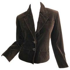 Vintage Yves Saint Laurent Size 40 / US 8 Chocolate Brown Velvet Cropped Jacket