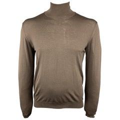 6ba90ace864 Vintage YVES SAINT LAURENT Size L Brown Merino Wool Turtleneck Pullover  Sweater