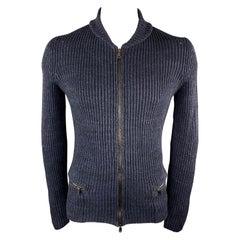 Vintage YVES SAINT LAURENT Size M Navy Knitted Linen Blend Zip Up Cardigan Sweat