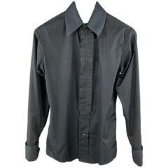 Vintage YVES SAINT LAURENT Size XS Black Cotton Ruffled Long Sleeve Shirt