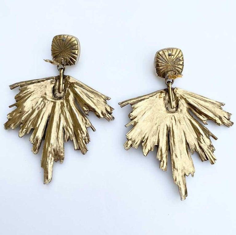 Baguette Cut Vintage YVES SAINT LAURENT Stud Earrings in Gilt Metal and Rhinestones For Sale
