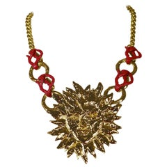 Vintage YVES SAINT LAURENT Sun Face Coral Necklace by Robert Goossens