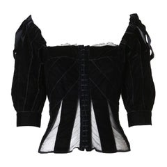 vintage YVES SAINT LAURENT TOM FORD black velvet mesh insert bow tie top FR44
