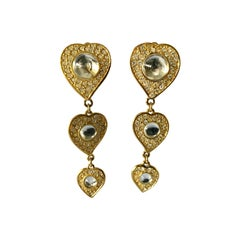 Vintage Yves Saint Laurent Triple Heart Earrings