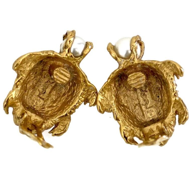 Vintage YVES SAINT LAURENT Turtle Pearl Earrings For Sale 1