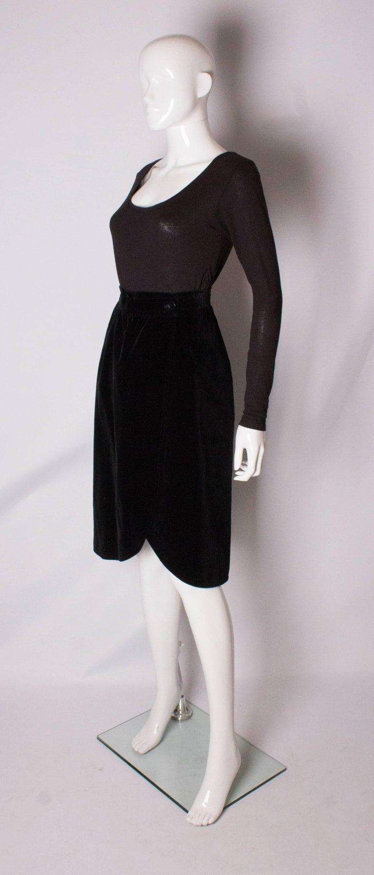 Black  Vintage Yves Saint Laurent Velvet Skirt For Sale