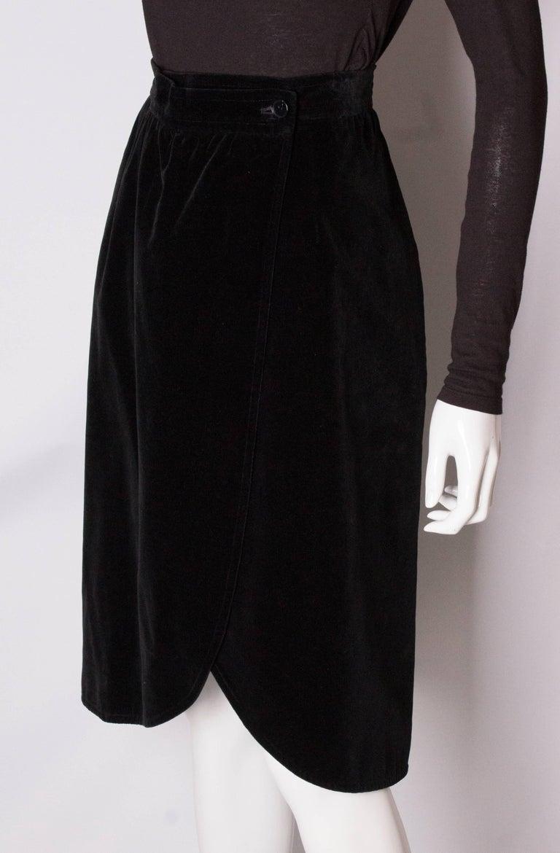 Vintage Yves Saint Laurent Velvet Skirt In Good Condition For Sale In London, GB