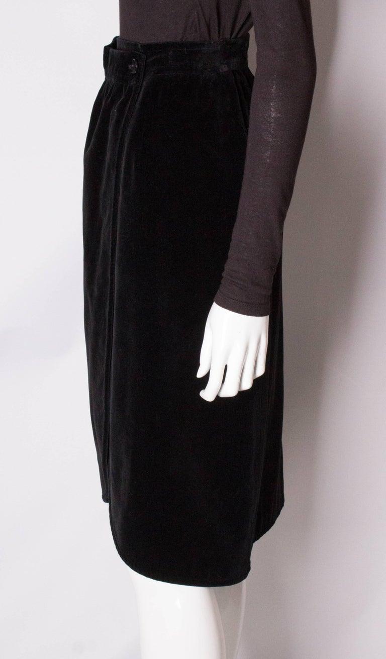 Vintage Yves Saint Laurent Velvet Skirt For Sale 1