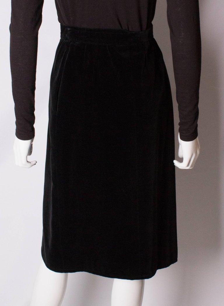 Vintage Yves Saint Laurent Velvet Skirt For Sale 3