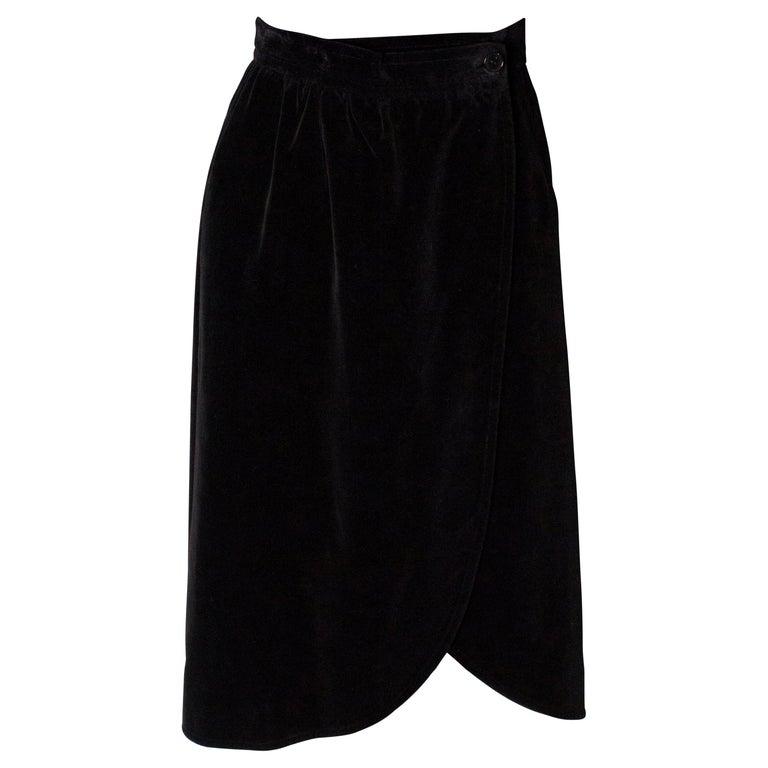 Vintage Yves Saint Laurent Velvet Skirt For Sale