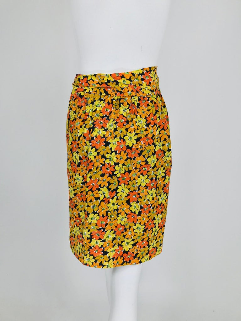 Vintage Yves Saint Laurent Vibrant Floral Silk Print Wrap Skirt  For Sale 1