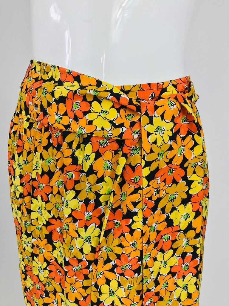 Vintage Yves Saint Laurent Vibrant Floral Silk Print Wrap Skirt  For Sale 3