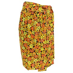 Vintage Yves Saint Laurent Vibrant Floral Silk Print Wrap Skirt