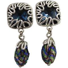 Vintage Yves Saint Laurent Vintage Blue Stone & Murano Glass Earrings