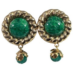 Vintage Yves Saint Laurent Vintage Gold Plated and Green Glass stone  Earrings