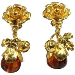 Vintage Yves Saint Laurent Vintage Gold Platedand glass pendant Flower Earrings