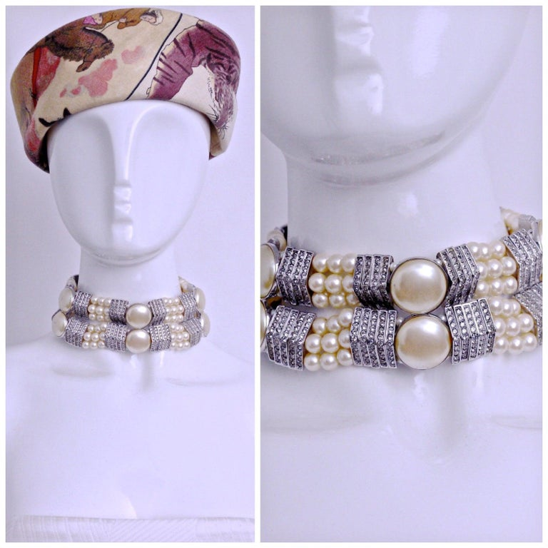 Vintage YVES SAINT LAURENT Wide Pearl Rhinestone Choker Necklace  Measurements: Height: 1 7/8 inches Wearable Length: 12 inches to 17 inches  This Vintage YVES SAINT LAURENT Wide Pearl Rhinestone Choker Necklace is very RARE and classy! A must