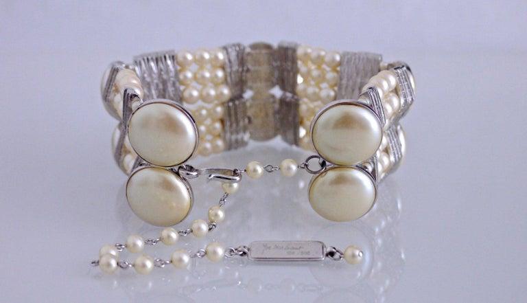 Women's Vintage YVES SAINT LAURENT Wide Pearl Rhinestone Choker Necklace For Sale