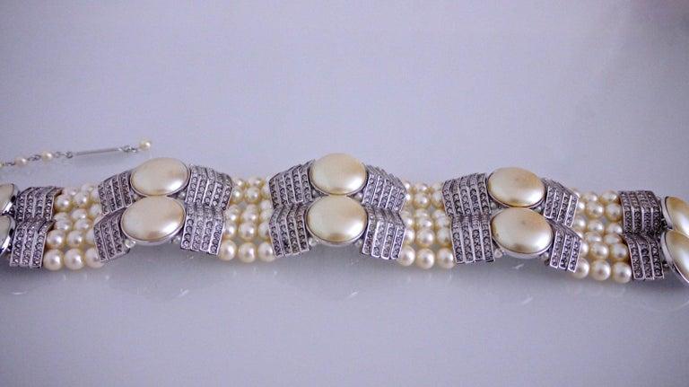 Vintage YVES SAINT LAURENT Wide Pearl Rhinestone Choker Necklace For Sale 1