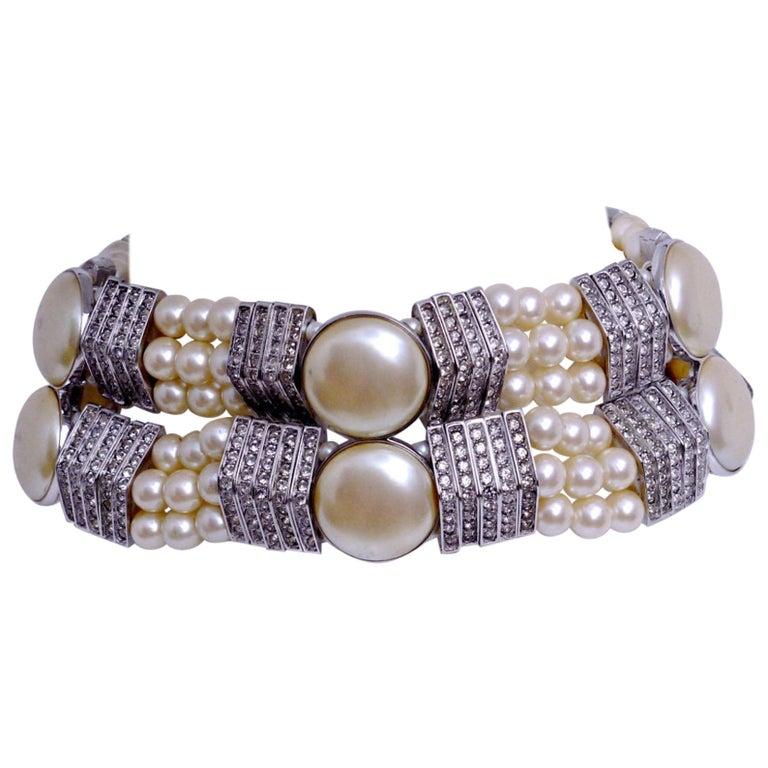 Vintage YVES SAINT LAURENT Wide Pearl Rhinestone Choker Necklace For Sale