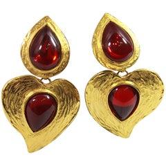 Vintage Yves Saint Laurent XL Vintage Gold Plated  Earrings