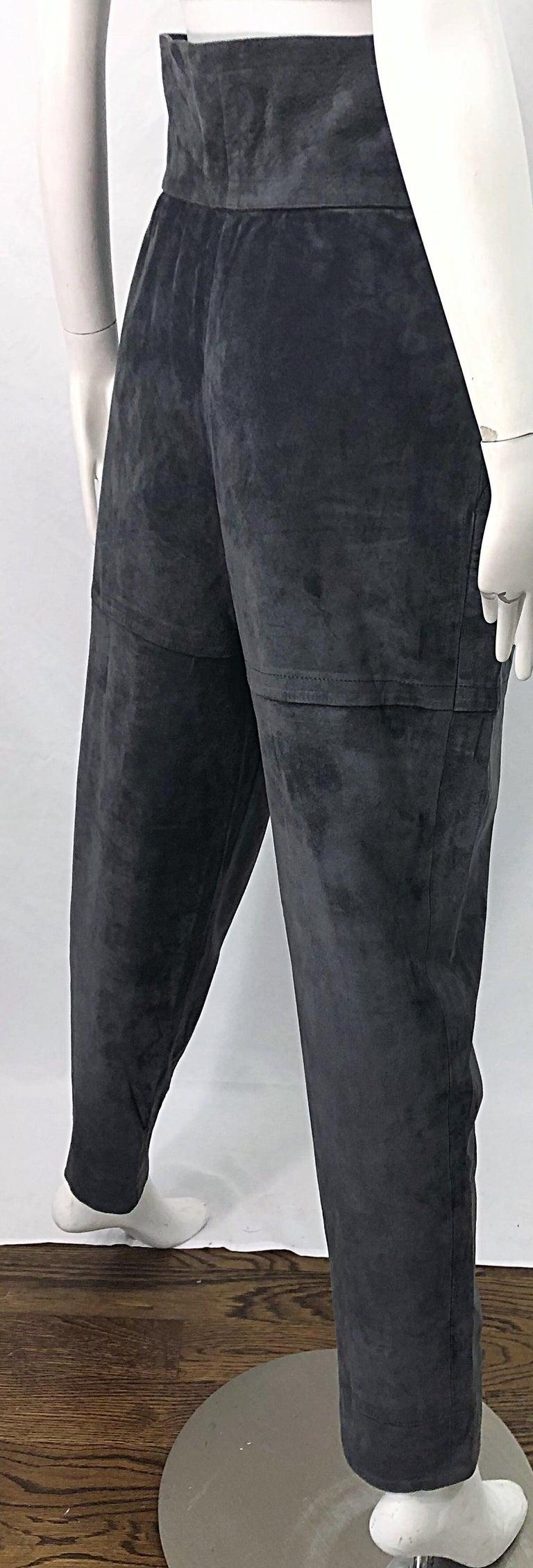 Vintage Yves Saint Laurent YSL 1980s Grey Suede Leather High Waisted Harem Pants For Sale 5