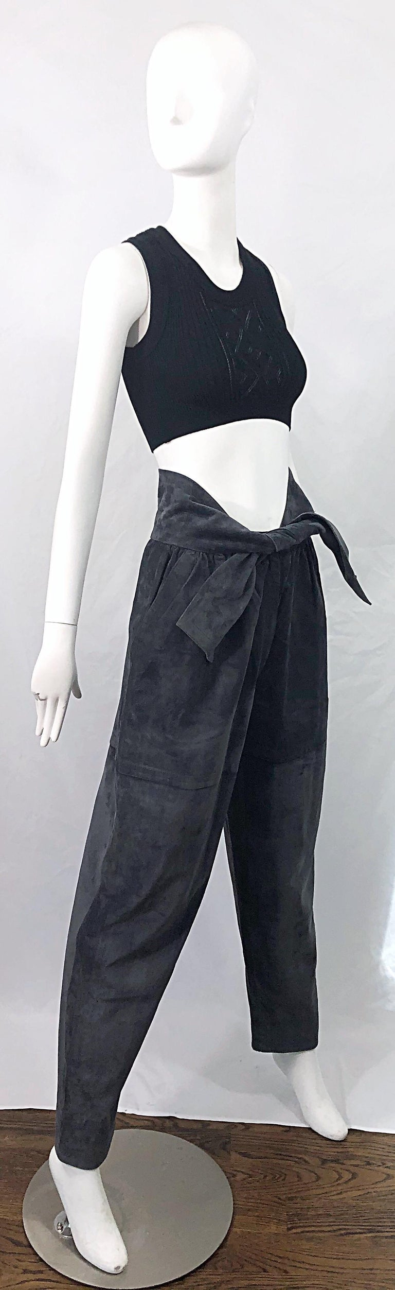 Vintage Yves Saint Laurent YSL 1980s Grey Suede Leather High Waisted Harem Pants For Sale 6