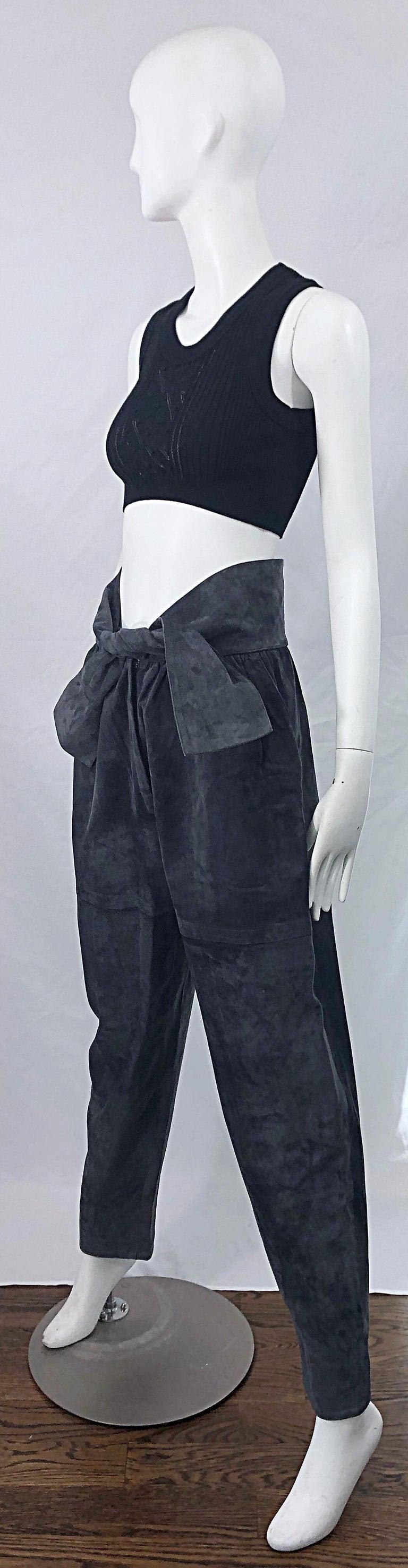 Vintage Yves Saint Laurent YSL 1980s Grey Suede Leather High Waisted Harem Pants For Sale 7