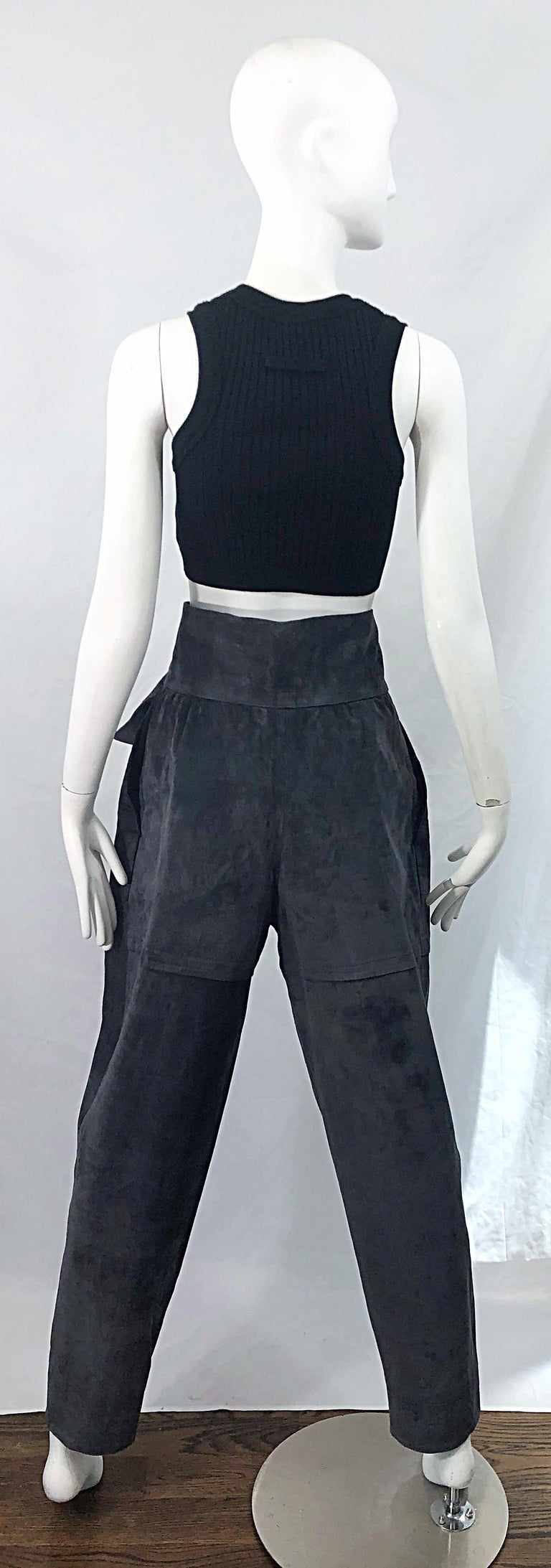 Vintage Yves Saint Laurent YSL 1980s Grey Suede Leather High Waisted Harem Pants For Sale 8