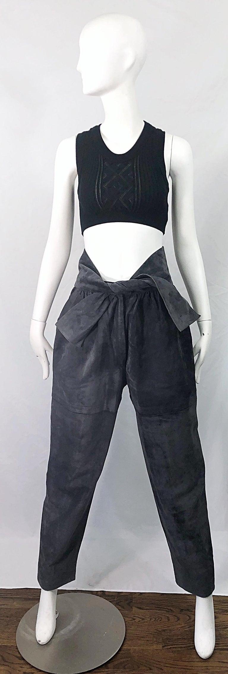 Vintage Yves Saint Laurent YSL 1980s Grey Suede Leather High Waisted Harem Pants For Sale 10