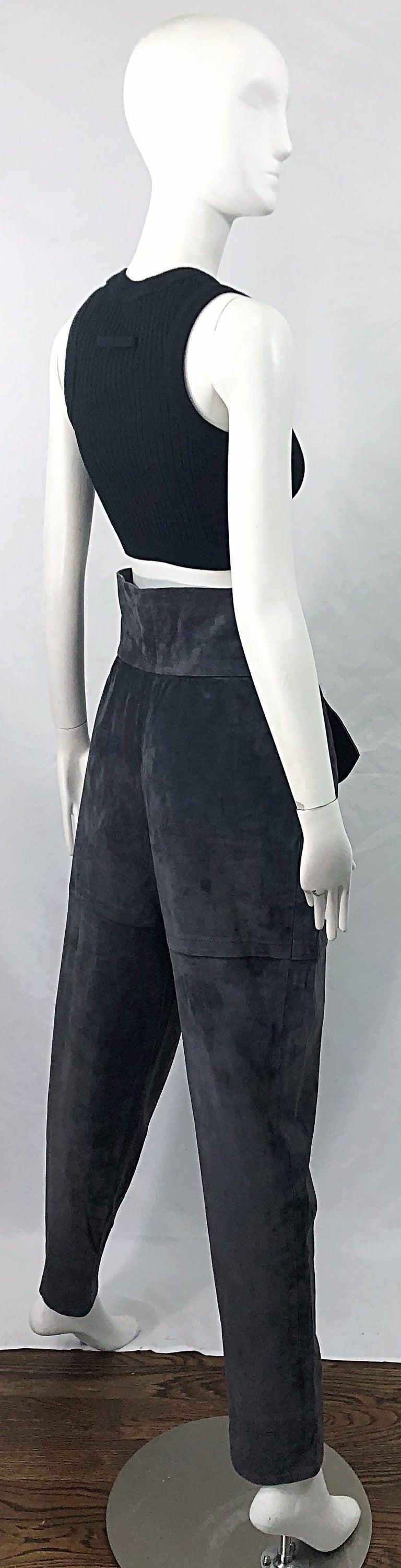 Vintage Yves Saint Laurent YSL 1980s Grey Suede Leather High Waisted Harem Pants For Sale 11