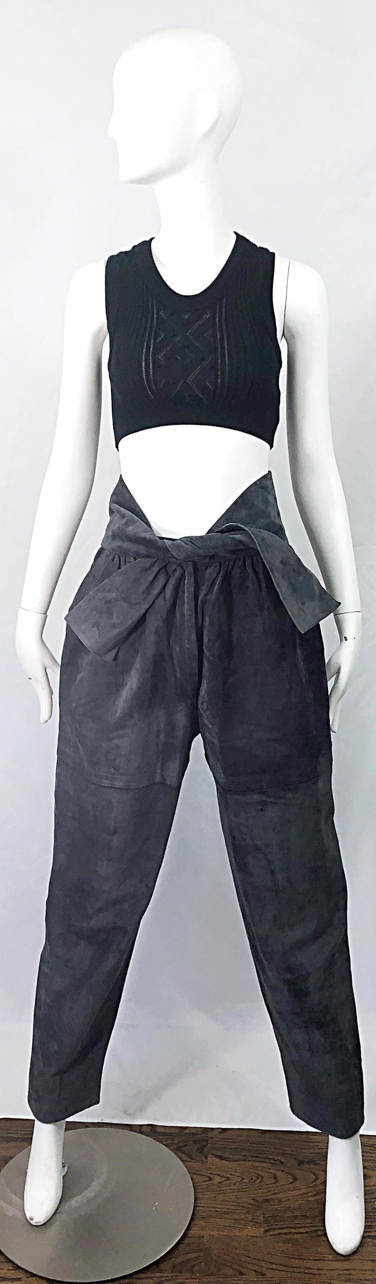 Vintage Yves Saint Laurent YSL 1980s Grey Suede Leather High Waisted Harem Pants For Sale 12