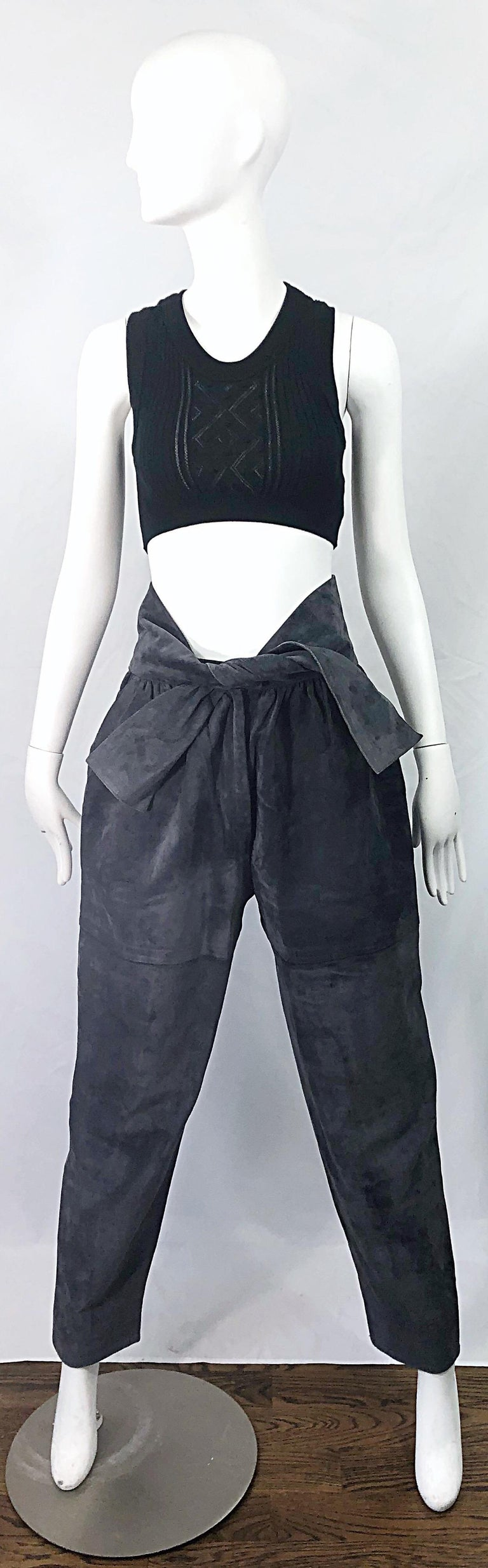 Amazing collectible RARE vintage early 80s YVES SAINT LAURENT Rive Gauche elephant gray suede leather high waisted harem pants / trousers ! Features a high waist with pockets at each side of the hips. Attached tie belt ties at center waist. Hidden