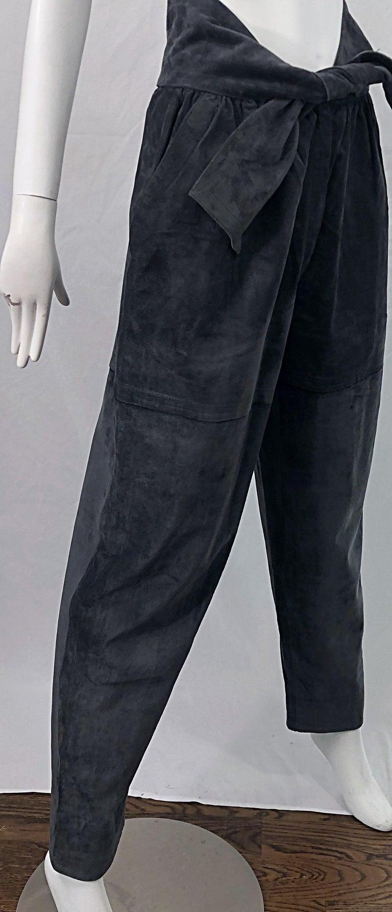 Black Vintage Yves Saint Laurent YSL 1980s Grey Suede Leather High Waisted Harem Pants For Sale